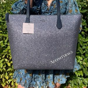 Kate spade large joeley dawn blue glitter tote NWT